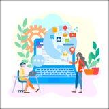 Employés de bureau dans le contact avec le filet social traversant en ligne du monde illustration libre de droits