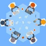 Employés de bureau sur la réunion et la séance de réflexion illustration stock