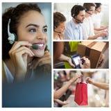 Employés de sourire de centre d'attention téléphonique photographie stock libre de droits