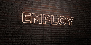 EMPLOY -Realistic Neon Sign on Brick Wall background - 3D rendered royalty free stock image Royalty Free Stock Image