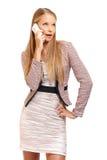 Employe biondo piacevole che fa un phonecall Fotografie Stock