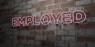 EMPLOYED - Glowing Neon Sign on stonework wall - 3D rendered royalty free stock illustration Stock Photos