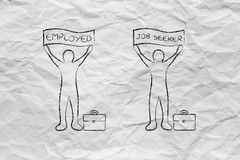Employed and job seeker men with banners Royalty Free Stock Images