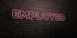 EMPLOYED -Realistic Neon Sign on Brick Wall background - 3D rendered royalty free stock image Royalty Free Stock Image