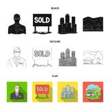 Employee of the agency, sold, metropolis, country house. Realtor set collection icons in black,flat,outline style vector. Symbol stock illustration Royalty Free Stock Photos