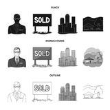 Employee of the agency, sold, metropolis, country house. Realtor set collection icons in black,monochrome,outline style. Vector symbol stock illustration Stock Images