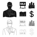 Employee of the agency, sold, metropolis, country house. Realtor set collection icons in black,outline style vector. Symbol stock illustration Royalty Free Stock Images