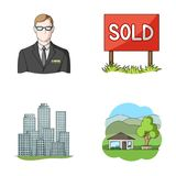 Employee of the agency, sold, metropolis, country house. Realtor set collection icons in cartoon style vector symbol Stock Photography