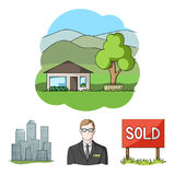Employee of the agency, sold, metropolis, country house. Realtor set collection icons in cartoon style vector symbol. Stock illustration Royalty Free Stock Photo