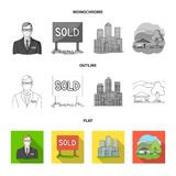 Employee of the agency, sold, metropolis, country house. Realtor set collection icons in flat,outline,monochrome style. Vector symbol stock illustration Stock Photos