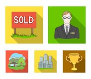 Employee of the agency, sold, metropolis, country house. Realtor set collection icons in flat style vector symbol stock. Illustration Royalty Free Stock Image