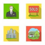 Employee of the agency, sold, metropolis, country house. Realtor set collection icons in flat style vector symbol stock. Illustration Royalty Free Stock Photos