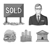 Employee of the agency, sold, metropolis, country house. Realtor set collection icons in monochrome style vector symbol. Stock illustration Royalty Free Stock Photography