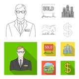 Employee of the agency, sold, metropolis, country house. Realtor set collection icons in outline,flat style vector. Symbol stock illustration Royalty Free Stock Photo