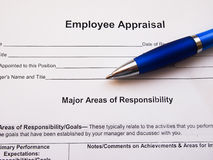 Employee appraisal report. With pen Stock Image