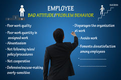 Employee bad attitude and problem behavior. Businessman writing bad attitude and problem behavior chart vector illustration