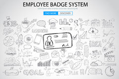 Employee Badge System concept with Doodle design style: Stock Image