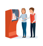 Employee bank consultant helps client to girl with financial operations. Bank service and staff. Employee bank consultant manager helps the client to girl to Royalty Free Stock Photos