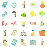 Employee of the bank icons set, cartoon style Royalty Free Stock Images