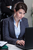 Employee being controlled by boss Royalty Free Stock Photo