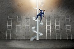 The employee being fired and falling from career ladder. Employee being fired and falling from career ladder Royalty Free Stock Photography