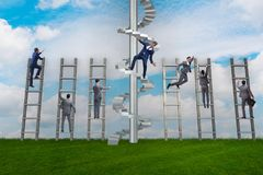 The employee being fired and falling from career ladder. Employee being fired and falling from career ladder Royalty Free Stock Images