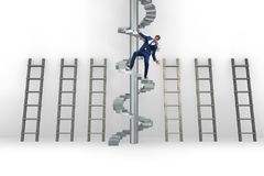 The employee being fired and falling from career ladder. Employee being fired and falling from career ladder Royalty Free Stock Image