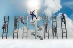 The employee being fired and falling from career ladder. Employee being fired and falling from career ladder Royalty Free Stock Photos