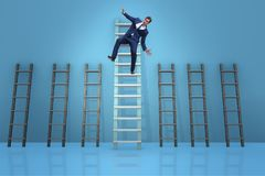 The employee being fired and falling from career ladder. Employee being fired and falling from career ladder Stock Photography