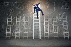The employee being fired and falling from career ladder. Employee being fired and falling from career ladder Stock Photos