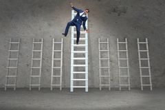 The employee being fired and falling from career ladder. Employee being fired and falling from career ladder Stock Images