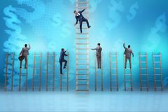 The employee being fired and falling from career ladder. Employee being fired and falling from career ladder Stock Image