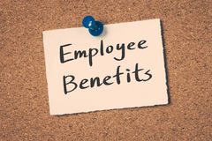 Employee Benefits. Concept on a cork board stock images
