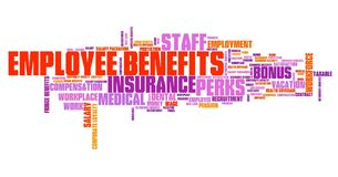 Employee benefits. Work place perks. Corporate loyalty word cloud Stock Photography