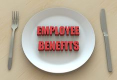 EMPLOYEE BENEFITS, message on dish Royalty Free Stock Images
