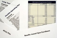 Employee Benefits Open Enrollment Forms Stock Photo