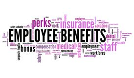 Employee benefits. Work place perks. Corporate loyalty word cloud Royalty Free Stock Images