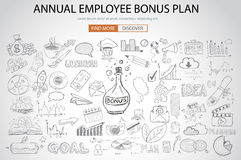 Employee Bonus Benefit Plan concept with Doodle design style Stock Photo
