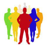 Employee business team. As a silhoutte in different colors Royalty Free Stock Image