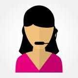 Employee call center girl with headphones Stock Photography
