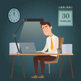 Employee cartoon character man working on a deadline Stock Image