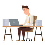 Employee cartoon character man working on a deadline. Employee funny cartoon character man sitting at the table and working all night with stacks of papers Royalty Free Stock Images