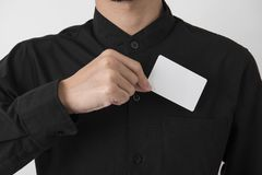 Employee catch blank business card in pocket for mockup template. Logo branding background stock images
