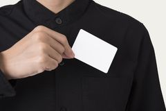 Employee catch blank business card in pocket for mockup template. Logo branding background stock photos