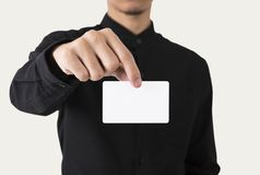 Employee catch blank business card showing for mockup template. Logo branding background royalty free stock images