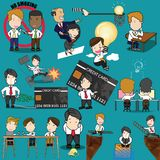 Employee character poses and action activity. Stock Image