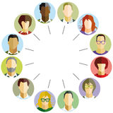 Employee community. Illustration in flat style of many varying and culturally diverse faces, as circular icons, representing a community of people connected by a stock illustration