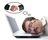 Employee for computer dream wages Stock Photo