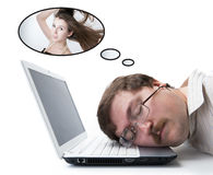 Employee for computer dream wages Stock Image