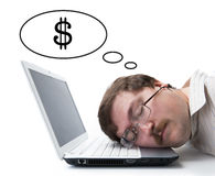 Employee for computer dream wages Royalty Free Stock Images